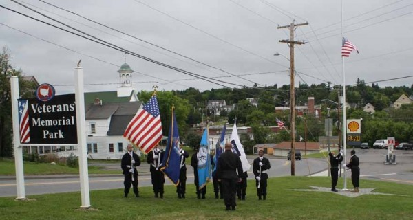 The Loring Job Corps Honor Guard posted colors at the Caribou Veterans' Memorial Park dedication ceremony on Saturday, July 27. The flag that was raised had previously flown over the U.S. Capitol at the request of U.S. Sen. Susan Collins, a Caribou native.