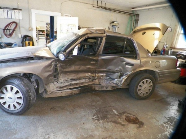 This State Police cruiser was totaled at the conclusion of a pursuit late Thursday night.