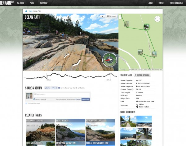 The Ocean Path of Acadia National Park is one of the many trails that can be explored on Terrain360.com, a website that displays outdoor destinations through interactive maps and 360-degree views. Several trails of Acadia National Park were launched on the website in August 2013.