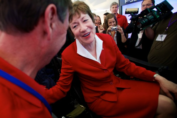 U.S. Sen. Susan Collins, R-Maine, thanks Gary Hentz of Lockheed Marting for the flying instructions while operating an F-35 Lightning II simulator at a Pratt & Whitney employee appreciation event in North Berwick Friday morning. The Pratt & Whitney facility manufactures the F-35's engine.