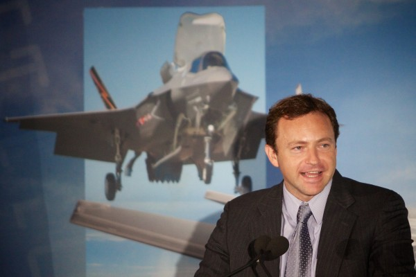 Maine Speaker of the House Mark Eves, D-North Berwick, speaks at Pratt & Whitney employee appreciation event in North Berwick Friday morning.