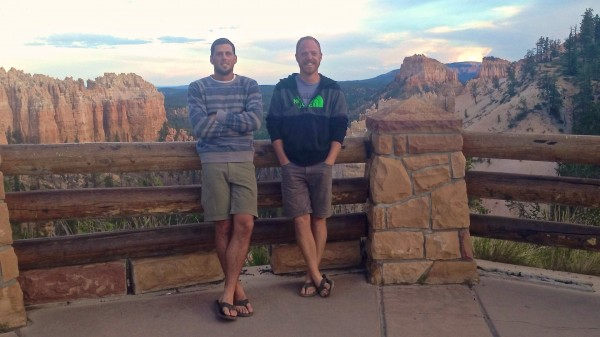 Ben Holmes (from left) and Ross Milby of Terrain360 pose for a photo in Zion National Park in August 2013 while on a trip to photograph some of the park's trails for Terrain360.com. The week before, the pair was in Acadia National Park for the same reason.