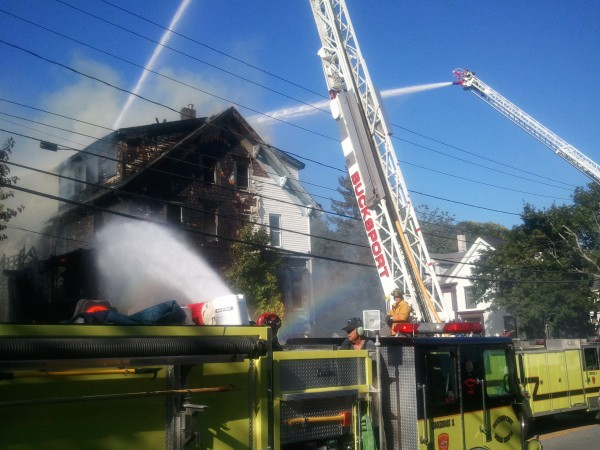 Fire broke out at an apartment building on Main Street in Bucksport on Sunday afternoon.