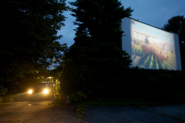 A car arrives a bit late for the first movie at the Saco Drive-In Tuesday night. The theater is the second-oldest operational drive-in in the country and the owners hope to keep it going next year by winning a contest that will get him a new digital projector.