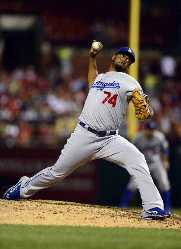 Los Angeles Dodgers relief pitcher Kenley Jansen (74) throws to a St. Louis Cardinals batter during the ninth inning at Busch Stadium. Los Angeles defeated St. Louis 5-1. Jansen played for Curacao during the 2003 Senior League World Series in Bangor.