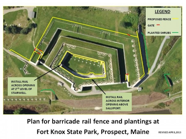 This sketch illustrates the location of planned fencing and shrubs at Fort Knox in Prospect. The U.S. Army Corps of Engineers is building the fence and planting the shrubs to prevent people from falling from the higher parts of the fort.