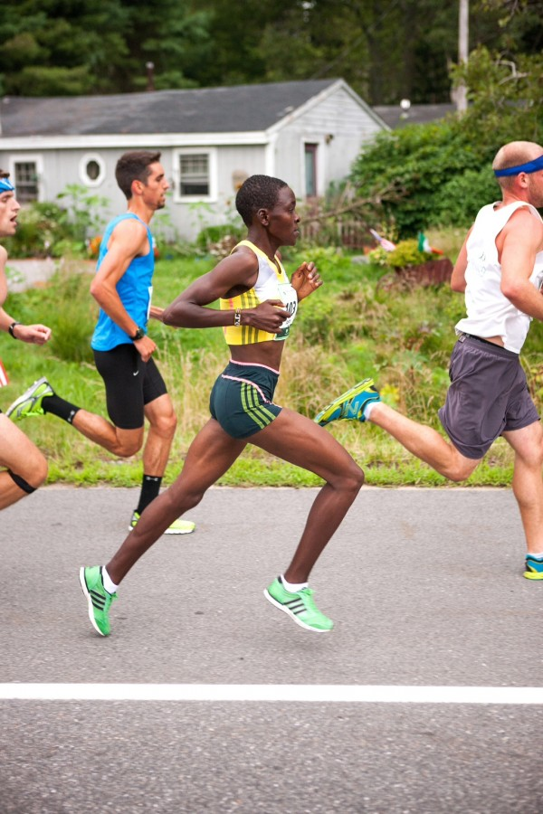 Joyce Chepkirui of Kenya competes in Saturday's Beach to Beacon 10K road race in Cape Elizabeth. She went on to win the women's race with a time of 31 minutes, 23.2 seconds.