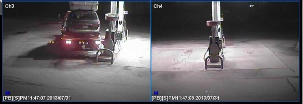 This truck backed into a diesel pump at a Waterboro convenience store on Wednesday night.