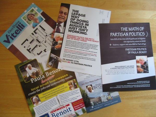 Shown above are some of the mailers circulated in the Senate District 19 special election scheduled for August 27, 2013. The candidates involved were Republican Paula Benoit, Democrat Eloise Vitelli and Green-Independent Daniel Stromgren.