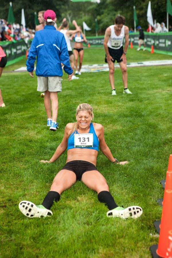 Erica of Jesseman of Scarborough rests after crossing the finish line as the first Maine women's finisher in Saturday's Beach to Beacon 10K road race in Cape Elizabeth. She recorded a time of 34 minutes, 17.6 seconds.