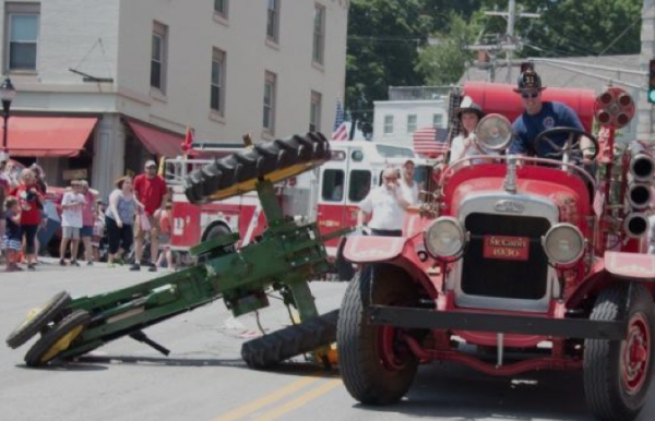 A witness photo of the fatal firetruck-tractor collision during the Fourth of July parade in Bangor in 2013.