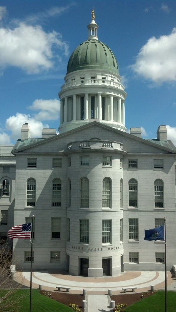 The Maine State House in May.