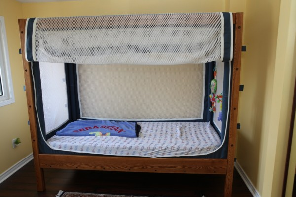 Another sample of one of the beds that Patrick Cyr handcrafts for special-needs children.