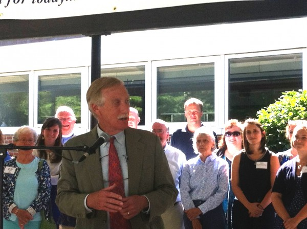 U.S. Sen. Angus King joined representative of Mid Coast Hunger Prevention Program and Good Shepherd Food Bank at Brunswick's Coffin School on Monday to announce a new &quotBackpack Program&quot that will provide food to needy elementary students in an attempt to combat hunger.