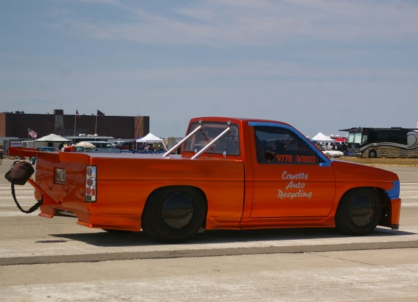 Jason Theriault is shown during his record-setting run at the Loring Timing Association's summer event held the former Loring Air Base this summer. Theriault from Caribou went 207 mph in his 1,300 horsepower 1994 Nissan pickup.
