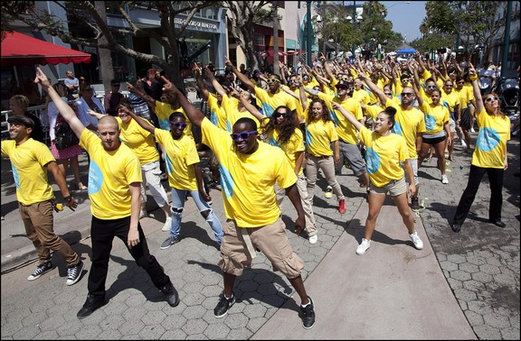 A flash mob breaks out in downtown Santa Monica, Calif. produced by Flash Mob America.