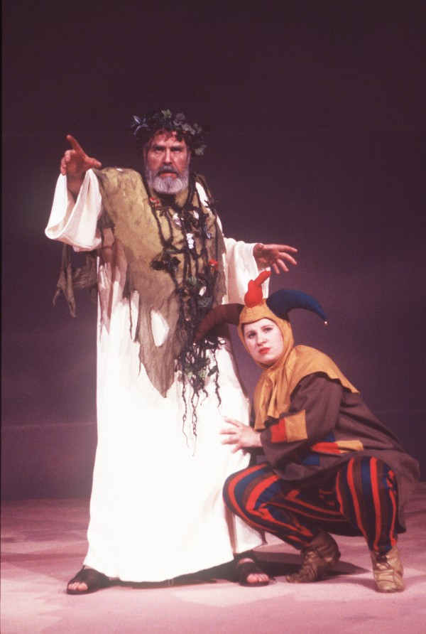 Ken Stack is King Lear and Leslie Michaud plays the Fool in Penobscot Theatre's production of &quotKing Lear.&quot
