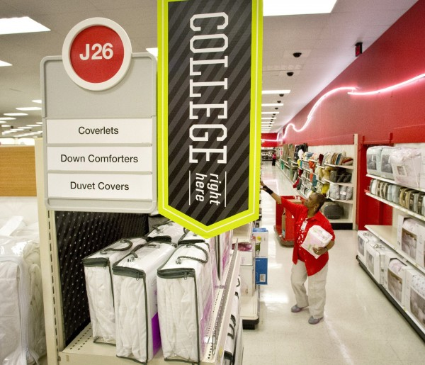 College-oriented merchandise line the aisles at the Target store on Nicollet Mall in Minneapolis, Minnesota.