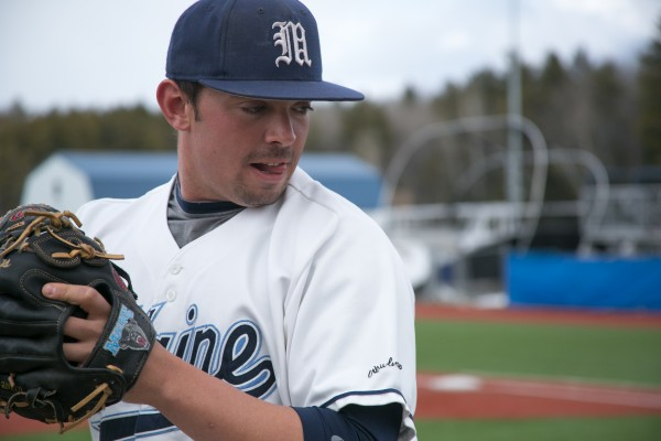 The University of Maine's Tommy Lawrence winds up for a pitch during practice in March in Orono. Lawrence has turned in a strong season in the Cape Cod Baseball League with a 3-0 record and 1.87 earned run average.