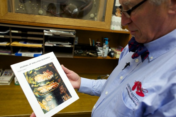 Robert Bayer, executive director of the Lobster Institute at University of Maine, shows a photo from the Journal of Shellfish Research that shows an example of Lobster Shell Disease that is now affecting Maine lobsters.