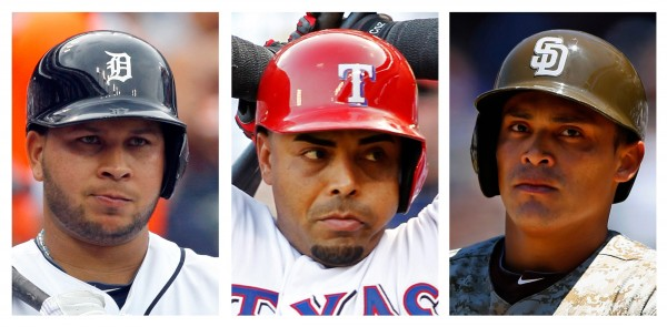 Detroit Tigers Jhonny Peralta (L), Texas Rangers Nelson Cruz (C), and San Diego Padres Everth Cabrera are among 12 Major League Baseball players that have been handed 50-game suspensions following a long investigation into links between top players and a Florida clinic accused of supplying performance enhancing drugs.