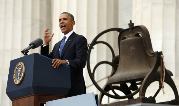 U.S. President Barack Obama speaks from the steps of the Lincoln Memorial during the commemoration of the 50th anniversary of the March on Washington and Reverend Martin Luther King Jr.'s &quotI have a dream&quot speech in Washington August 28, 2013.