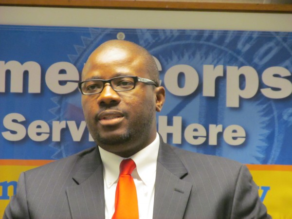 Portland Public Schools Superintendent Emmanuel Caulk discusses a $2.2 million AmeriCorps grant that will help provide nearly 200 volunteers to work in six schools in Portland, Sullivan, Ellsworth, Jay, Livermore Falls and North Anson. Caulk took part in a Thursday morning news conference at one of the schools affected, Riverton Elementary School, to celebrate the grant.