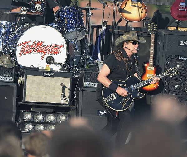 Rocker Ted Nugent performs on the Bangor waterfront Sunday, July 8, 2012.