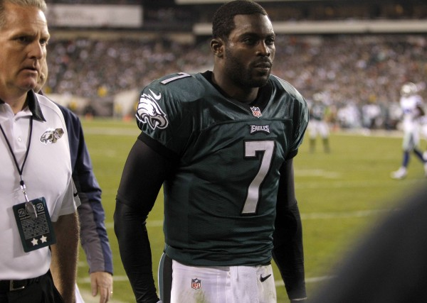 Philadelphia Eagles quarterback Michael Vick leaves the field with a concussion while playing against the Dallas Cowboys during the second quarter of their NFL football game in Philadelphia in November 2012.