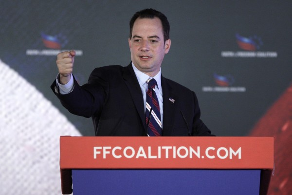 Republican National Committee Chairman Reince Priebus in this June 2013 file photo. The RNC plans to boycott CNN and NBC if they run a Hillary Clinton documentary and miniseries.