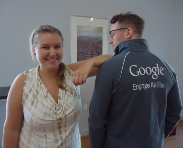 Jenika Scott and David Zwickerhill of Page One Web Solutions in Portland show off their excitement as they will travel to Google next week for the Engage All-Stars Summit in Mountain View, Calif.