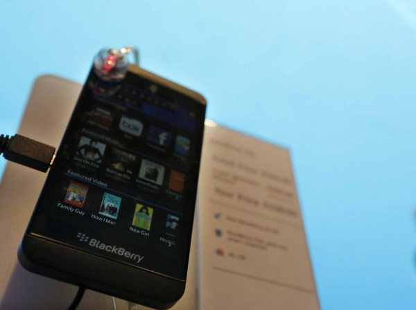 A new Blackberry Z10 smartphone is displayed at a store in New York, on March 22. BlackBerry Ltd. is warming up to the possibility of going private, as the smartphone maker battles to revive its fortunes, several sources familiar with the situation said.