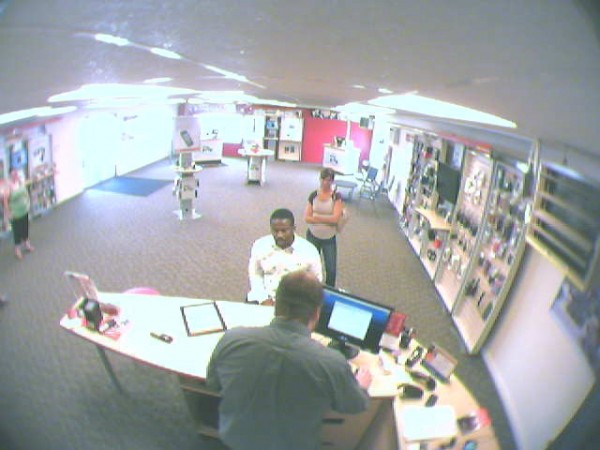 A surveillance photo of a man police say stole two cell phones worth more than $1,000 for a Verizon Wireless Zone store in Newport on Saturday. Newport Police are asking for the public's help in capturing the man.