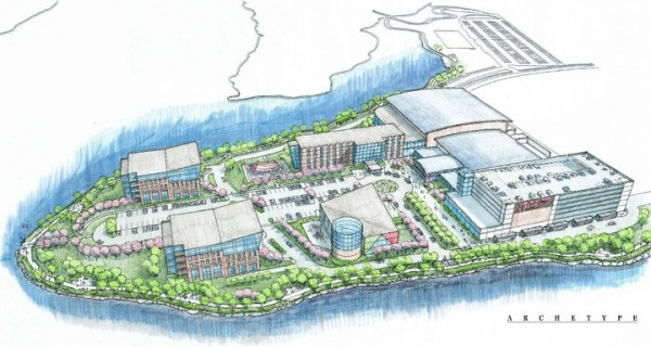 This architect's rendering depicts a $105 million multi-use development planned for Thompson's Point in Portland.