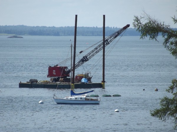 Ocean Renewable Power Company's turbine generator will be redeployed in Cobscook Bay in the distance behind equipment and boat pictured in this picture.