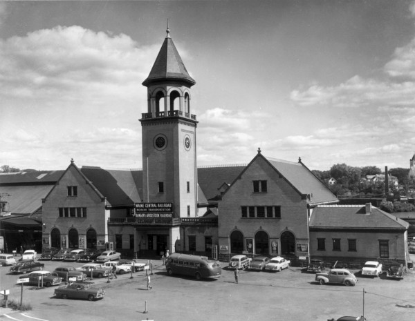 Union Station on Washington Street dominated downtown after opening in 1907 until its demolition in 1961. The brick structure served Maine Central Railroad passengers, as well as the Bangor and Aroostook Railroad. Its grand illuminated bell tower clock was visible for many miles.