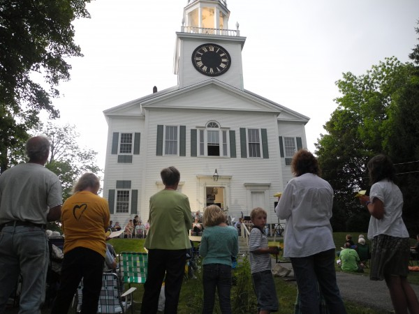 A crowd of people gathered Wednesday evening at the First Church in Belfast to commemorate the 50th anniversary of the March on Washington and Martin Luther King Jr.'s &quotI Have a Dream&quot speech.