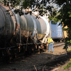 Rail cars back on track after derailment in Bangor