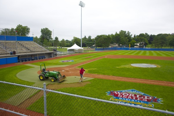 A member of the grounds crew works on the field at Mansfield Stadium in Bangor on Thursday in preparation for the Senior League World Series. The tourney opens Sunday.