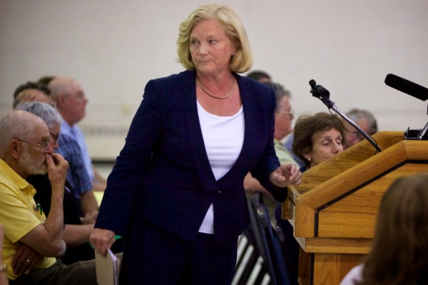 U.S. Rep. Chellie Pingree, D-Maine, leaves the podium after speaking to the Maine Department of Agriculture, Conservation and Forestry, listens in Augusta Monday. Pingree spoke of her concerns with proposed regulation on produce farmers and processing facilities.