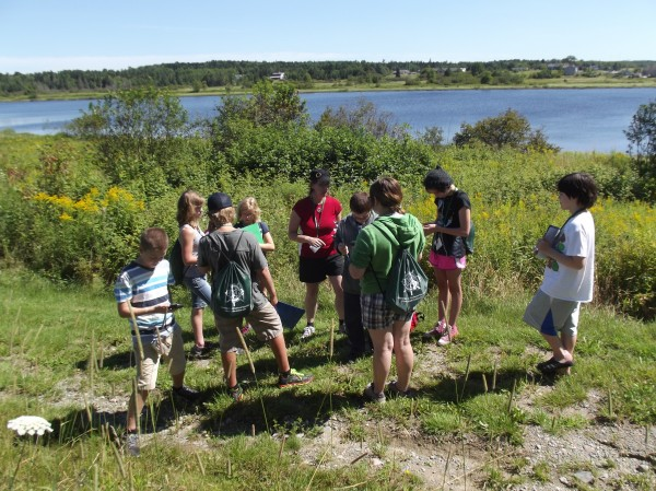 University of Maine at Machias professor Tora Johnson (center, wearing red top) talks with students in the week-long Maine Environmental Summer Session for Youth camp during a field trip along the Middle River in Machias on Tuesday.