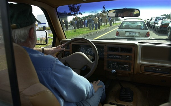 &quotI thought it was already open,&quot said Dave Lawson of Brewer as he sits in his truck and waits in a line of traffic on Stillwater Avenue in Bangor during the opening ceremony for the Interstate 95 exit in 2001 .