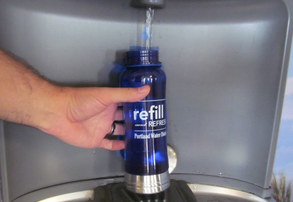 The Portland Water District hopes its new grant program will encourage more area businesses and organizations to install water bottle-filling stations like this one at the Portland International Jetport.