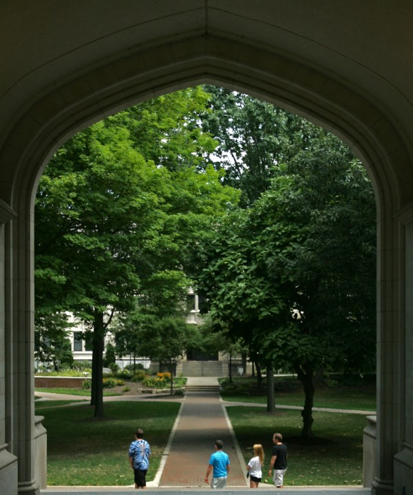Students make their way across campus at the College of Wooster in July 2012, in Wooster, Ohio.