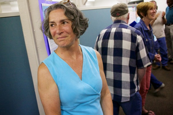 Eloise Vitelli grins after winning the special Maine Senate District 19 election Tuesday night in Bath.