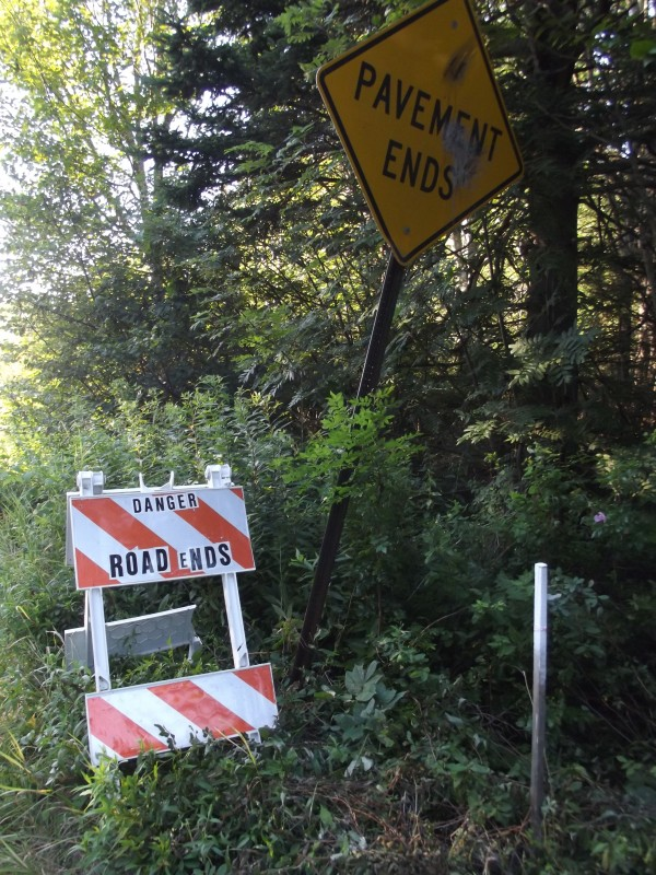 A temporary sign has been placed near the end of Schoppee Point Road in Roque Bluffs, shown Thursday, Aug. 1, to warn motorists of the boat ramp ahead. The sign reads, &quotDanger Road Ends.&quot