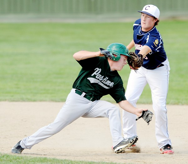 Bangor first baseman Andrew Hillier puts the tag on Pastime Club baserunner David Cusson during a rundown in Augusta on Thursday during the American Legion state tourney.