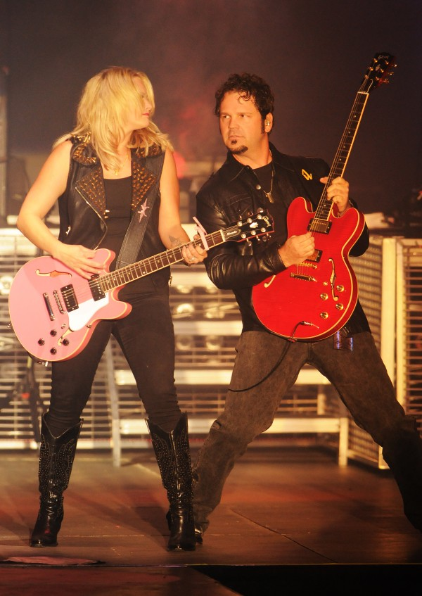 Miranda Lambert and her lead guitarist Alex Weeden performs onstage at the Darlings Waterfront Pavilion on Friday.