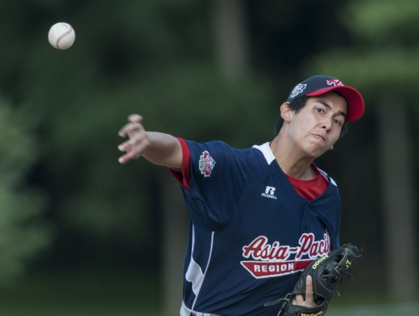 Asia-Pacific pitcher Boo Barandiaran throws to the plate in the first inning against Maine District 3 during the Senior League World Series at Mansfield Stadium in Bangor, Maine, Monday, August 12, 2013.
