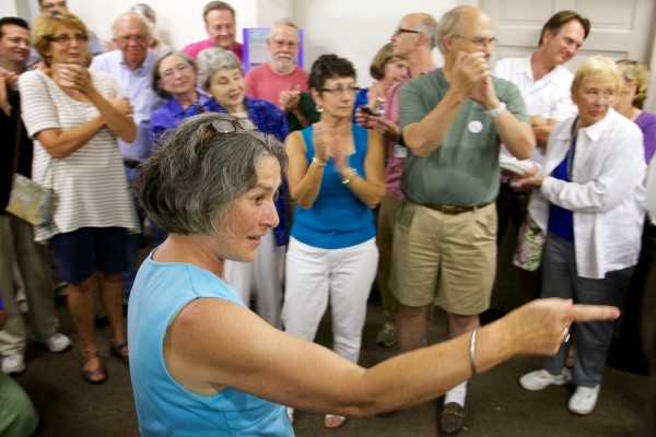 Eloise Vitelli thanks supporters after winning the special Maine Senate District 19 election Tuesday night in Bath.